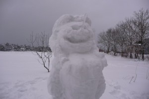 A female snow man
