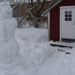 Snow woman and house